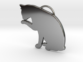 Cat Licking in Fine Detail Polished Silver