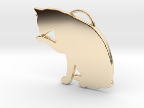 Cat Licking in 14k Gold Plated Brass