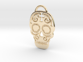 Skull with pattern in 14k Gold Plated Brass