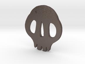 Skull Tsuba in Polished Bronzed Silver Steel