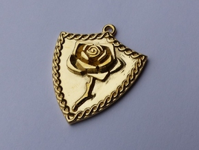 Rose Shield Pendant in Polished Brass