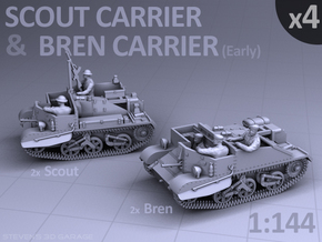 Scout and Bren Carrier  (4 pack) in Smooth Fine Detail Plastic