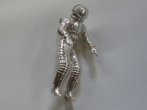 Floating Cosmonaut / Astronaut (40mm) in Natural Silver