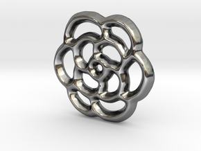Camellia Charm - 11mm in Fine Detail Polished Silver