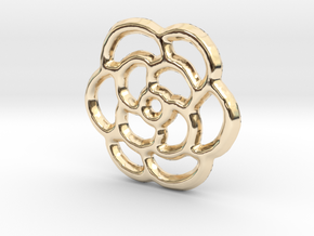 Camellia Pendant/Charm - 16mm in 14K Yellow Gold