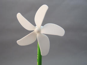 Chopstick Windmill - Flower in White Natural Versatile Plastic