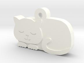 Cat Charm in White Processed Versatile Plastic