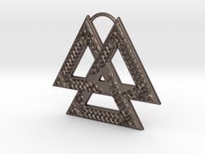 Knotwork Valknut in Polished Bronzed Silver Steel