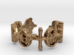 """""""Logical"""" Vulcan Script Ring - Cut Style in Natural Brass: 7 / 54"""