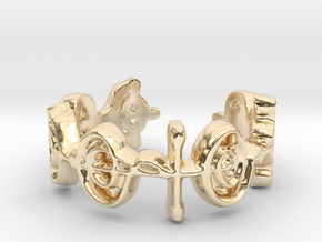 """Logical"" Vulcan Script Ring - Cut Style in 14k Gold Plated Brass: 7 / 54"
