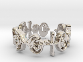 """Illogical"" Vulcan Script Ring - Cut Style in Rhodium Plated Brass: 7.5 / 55.5"