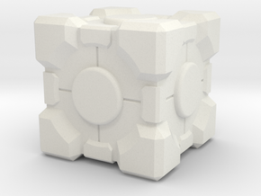 "Weighted Portal Cube - Flat - 1"" (100% Accurate) in White Natural Versatile Plastic"