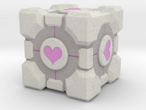 "Weighted Portal Cube (In Color) - Heart 1"" in Full Color Sandstone"