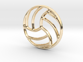 Volleyball Pendant/Charm - 16mm in 14K Yellow Gold