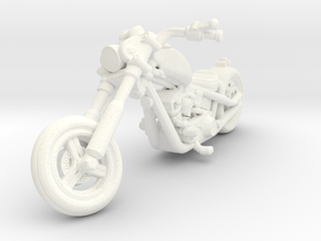 Harley Motorcycle Chopper 28mm miniature in White Strong & Flexible Polished