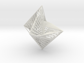 String Art -Octahedron in White Natural Versatile Plastic