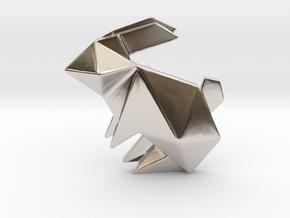 Origami Rabbit Pendant in Rhodium Plated Brass