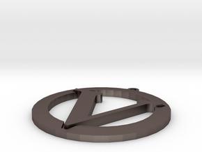 Vegan Symbol in Polished Bronzed Silver Steel