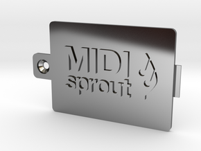 MIDI Sprout Battery Door 002a in Fine Detail Polished Silver