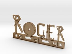 Roger Nametag in Matte Gold Steel