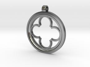 Rosette Pendant in Fine Detail Polished Silver