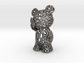 Phoneholic Bear Pendant - Big in Polished Nickel Steel