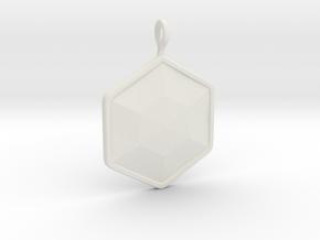 Geometric Hexagon Pendant in White Natural Versatile Plastic