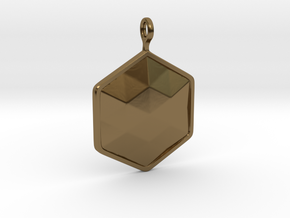 Geometric Hexagon Pendant in Polished Bronze