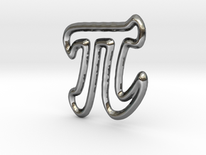Pi Pendant/Charm - 16mm in Fine Detail Polished Silver