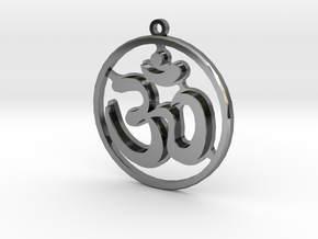 OM Pendant  in Fine Detail Polished Silver