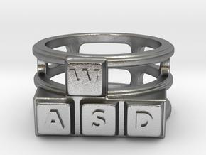 WASD Ring in Natural Silver: 8 / 56.75