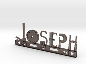 Joseph Nametag in Polished Bronzed Silver Steel