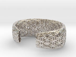 Flower Of Life Bracelet (Medium)  in Rhodium Plated Brass