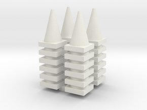Road Cone Stack (4Pack) 1-87 HO Scale in White Strong & Flexible