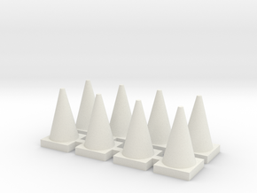 Road Cone 8 Pack 1-87 HO Scale in White Natural Versatile Plastic