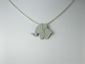 Origami Elephant Pendant in Polished Metallic Plastic