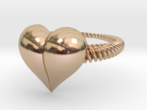 Size 9 Heart Ring in 14k Rose Gold Plated Brass
