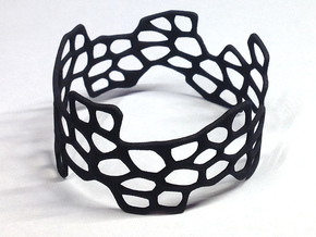 Cells Bracelet (open, 64mm) in Black Natural Versatile Plastic