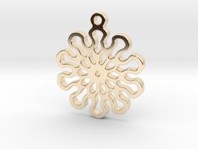 Lotus 10 Mandala Pendant in 14k Gold Plated Brass