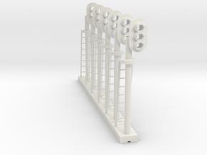 Block Signal 3 Light RH (Qty 6) - HO 87:1 Scale in White Natural Versatile Plastic