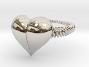Size 7 Heart Ring in Rhodium Plated Brass