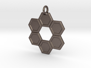 Honeycomb Ring Pendant in Polished Bronzed Silver Steel