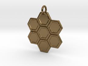 Honeycomb Pendant in Polished Bronze