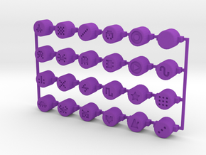 PO-20 button set in Purple Processed Versatile Plastic