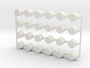 24 blank buttons in White Natural Versatile Plastic