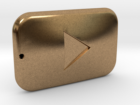 Youtube Button Keychain in Natural Brass