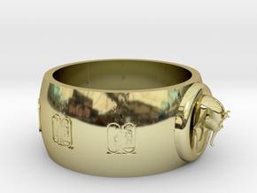 Ø0.698 inch/Ø17.75 mm Toetanchamon Ring. in 18k Gold Plated Brass