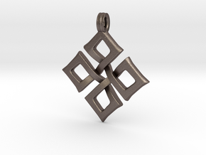 Simple Square Celtic Knot Cross Pendant in Polished Bronzed Silver Steel