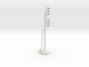 Block Signal Double 3 Light RH - HO 87:1 Scale in White Natural Versatile Plastic