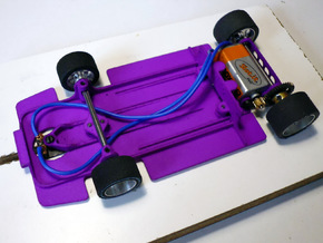Slot car chassis for Enzo 1/28 in Purple Processed Versatile Plastic